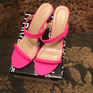 Like New Fuschia clear heel slides